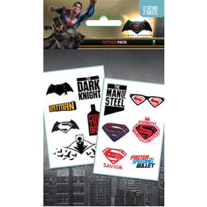 DC Comics Batman v Superman Dawn of Justice Mix Tattoo Pack