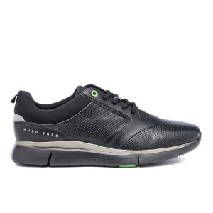 BOSS Green Men's Gym Leather Running Trainers - Black