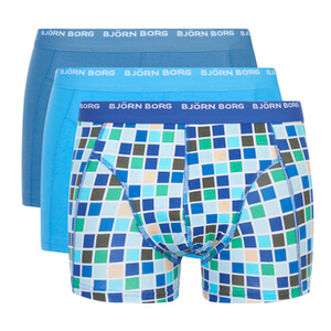 Bjorn Borg Men's Basic Check 3 Pack Boxer Shorts - Monaco Blue