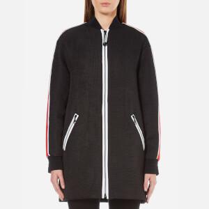KENZO Women's Contrast Athletic Side Stripe Long Bomber - Black