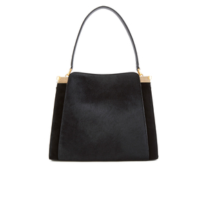 Lulu Guinness Women's Collette Large Leather and Suede Shoulder Bag - Black