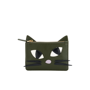 Lulu Guinness Women's Lottie Kooky Cat Pouch - Dark Sage