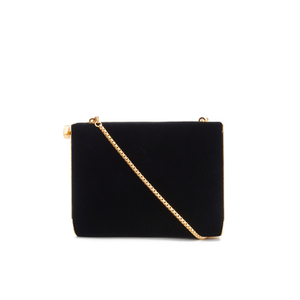 Lulu Guinness Women's Karlie Velvet Clutch with Lip Closure - Black