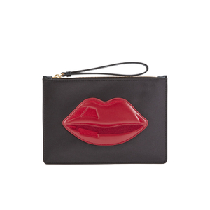 Lulu Guinness Women's Grace Medium Lips Clutch - Black/Red
