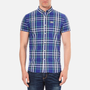 Superdry Men's Washbasket Button Down Short Sleeve Shirt - Electric Blue