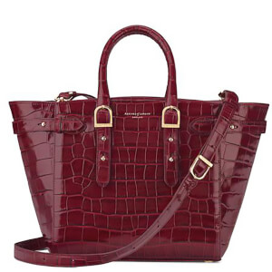 Aspinal of London Women's Marylebone Medium Croc Tote - Bordeaux