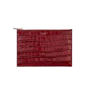 Aspinal of London Women's Essential Pouch Large Deep Shine Croc - Bordeaux