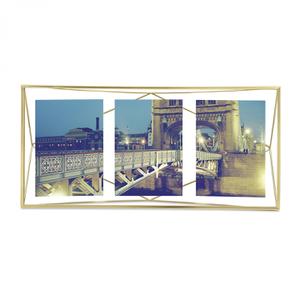 Umbra Prisma Three Photo Frame - Matte Brass - 6 x 4""