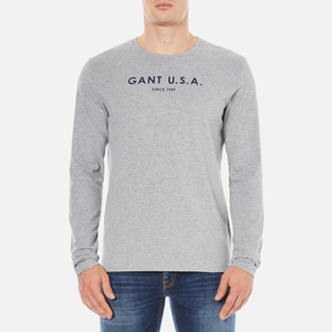 GANT Men's USA Long Sleeve T-Shirt - Grey Melange