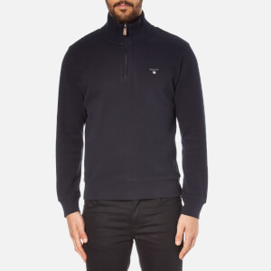 GANT Men's Sacker Rib Half Zip Top - Navy