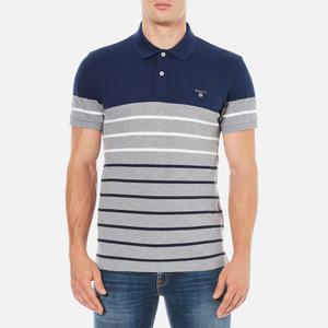 GANT Men's Dropped Stripe Pique Polo Shirt - Persian Blue