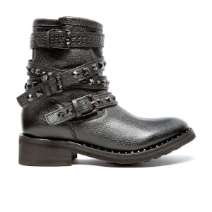 Ash Women's Sonic Leather Biker Boots - Black/Black