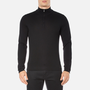 HUGO Men's San Gottardo Quarter Zip Jumper - Black