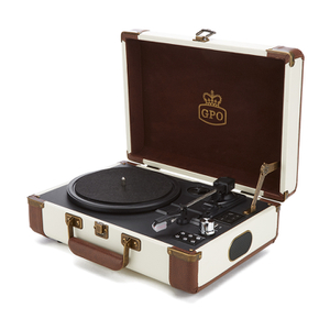 GPO Retro Ambassador Brief Case Turntable - Cream/Tan