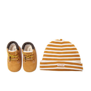 Timberland Babies' Crib Booties with Hat Gift Set - Wheat