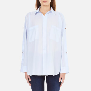 Helmut Lang Women's Lawn Cotton Shoulder Placket Shirt - Light Blue