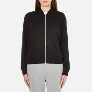 T by Alexander Wang Women's Stretch Silk Twill Bomber Jacket - Black