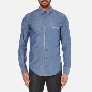 BOSS Orange Men's Cieloebue Long Sleeve Shirt - Blue