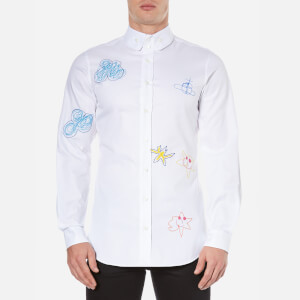 Vivienne Westwood MAN Men's Oxford Embroidered Two Button Shirt - White