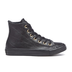 Converse Women's Chuck Taylor All Star Leather Fur Hi-Top Trainers - Black/Black