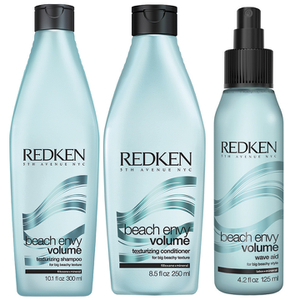 Redken Beach Envy Volume Teksturering Shampoo (300 ml) & Teksturering Conditioner (250 ml) & Volume Wave Aid (125 ml)
