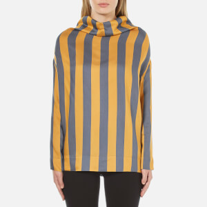 Vivienne Westwood Anglomania Women's Long Sleeve Fold Blouse - Blue/Yellow