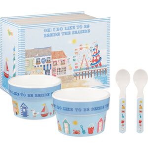 Little Rhymes Beside The Seaside 4 Piece Melamine Ice Cream Set