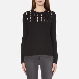 MICHAEL MICHAEL KORS Women's Slash Neck Crew Sweater - Black