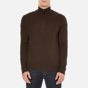 Polo Ralph Lauren Men's Half Zip Merino Knitted Jumper - Brown Marl