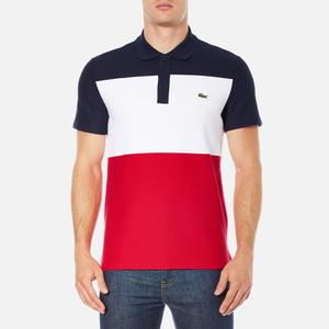 Lacoste Men's Short Sleeve Bold Stripe Polo Shirt - Navy Blue/White/Red