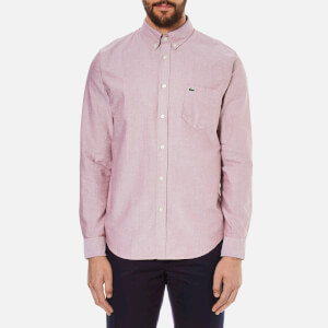 Lacoste Men's Oxford Button Down Pocket Shirt - Wine/White