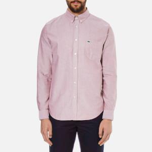 Lacoste Men's Oxford Button Down Pocket Shirt - Wine/White
