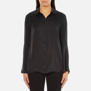 Gestuz Women's Maiden Silk Blouse With Bell Sleeves and Silk Buttons - Black