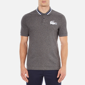 Lacoste L!ve Men's Large Logo Short Sleeve Polo Shirt - Medium Grey/Jaspe White