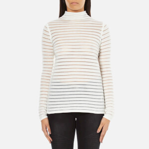 Karl Lagerfeld Women's Stripes Sheer & Solid Sweater - White
