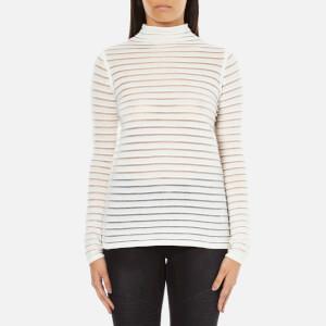 Karl Lagerfeld Women's Stripes Sheer & Solid Sweater - White