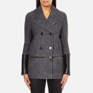 Karl Lagerfeld Women's Melange Boiled Wool Peacoat - Grey Melange