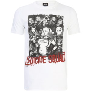 DC Comics Mens Suicide Squad Harley Quinn and Squad T-Shirt - Wit