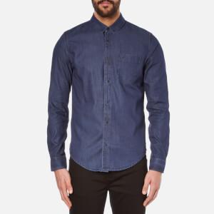 Calvin Klein Men's Wavy Button Down Indigo Shirt - Dark Indigo