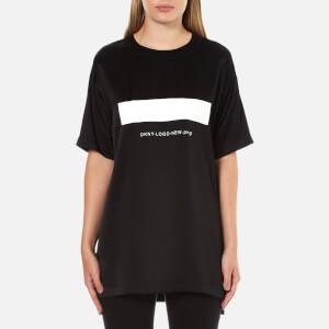 DKNY Women's Short Sleeve Logo T-Shirt with Ribbed Trims - Black