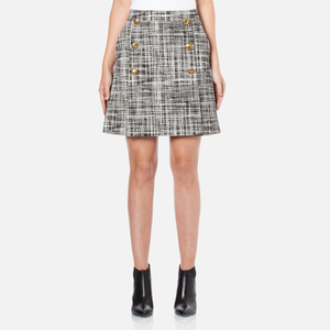 Boutique Moschino Women's Tweed Print Short Pleat Skirt with Buttons - Black