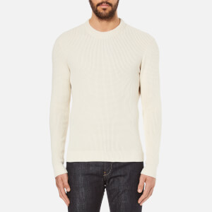 Folk Men's Textured Knitted Jumper - Chalk