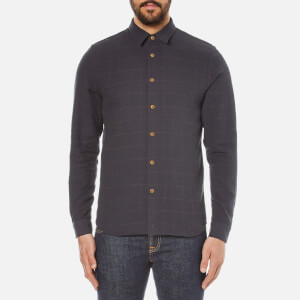 Folk Men's Checked Long Sleeve Shirt - Black Window Pane