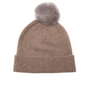 UGG Women's Luxe Cuff Hat with Oversized Toscana Pom - Stormy Grey Heather