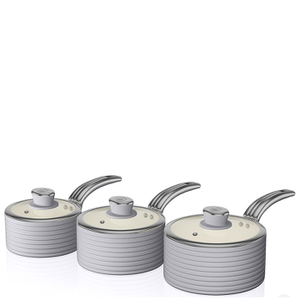 Swan Retro Saucepan Set - Grey (3 Piece)