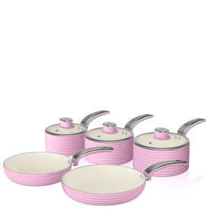 Swan Retro Pan Set - Pink (5 Piece)
