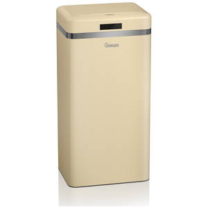 Swan Retro Square Sensor Bin - Cream (45L)