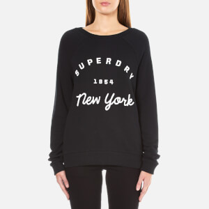 Superdry Women's Applique Raglan Crew Neck Sweatshirt - Black