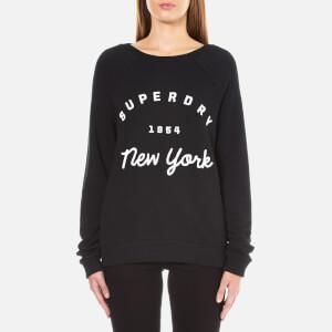 Superdry Women's Applique Raglan Crew Neck Sweatshirt - Black