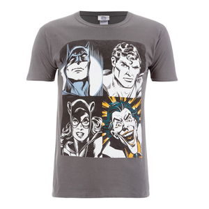 DC Comics Men's Batman Face T-Shirt - Grau